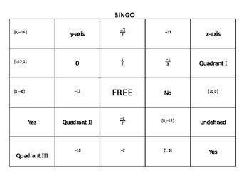 Bingo- Coordinate Plane and Slope