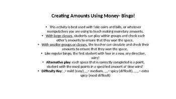 Bingo!- Creating Amounts with Money (change and bills)