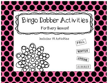 Roll and Color - Bingo Dobber Activity Printables - 19 Activities (all seasons)