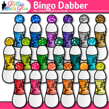 Bingo Dabber Clip Art {Rainbow Glitter Dauber Graphics for