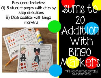 Bingo Dauber Addition Center Sums to 20  NO PREP