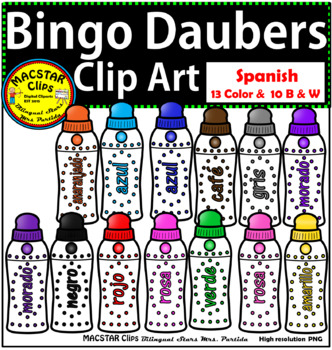 Bingo Daubers Clip Art Spanish Personal and Commercial Use