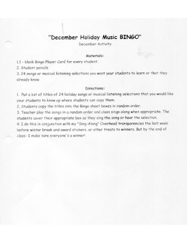 Bingo - December Holiday Music Bingo & World Holiday Worksheet