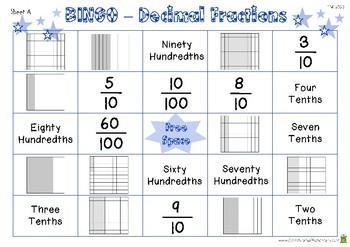 Bingo - Decimal Fractions Game (4.N.F.5)