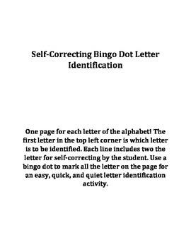 Bingo Dot Letter Identification
