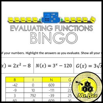 The BEST Bingo - Evaluate Functions - Bingo