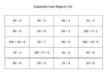Bingo - Expanded Form to 120