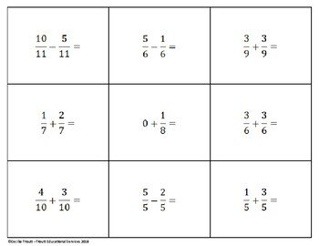 Bingo! Fraction Addition and Subtraction