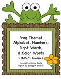 Bingo -Frog Themed Alphabet, Numbers, Sight Words & Color Words Bingo Games