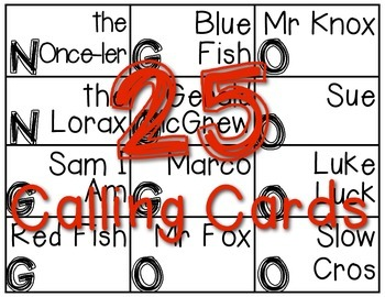 Bingo Fun with Dr Seuss Characters!