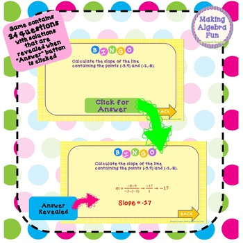Bingo Game Algebra Slope and Equations of Lines