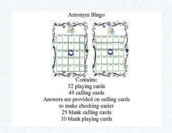 Bingo Game Fun-  Antonym Practice