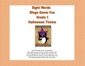 Bingo Game Fun- Sight Words for Grade 1-Halloween Theme