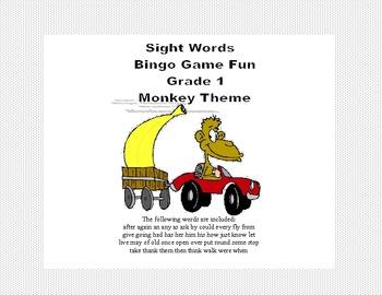 Bingo Game Fun- Sight Words for Grade 1 Monkey Themed