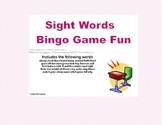 Bingo Game Fun- Sight Words for Grade 2