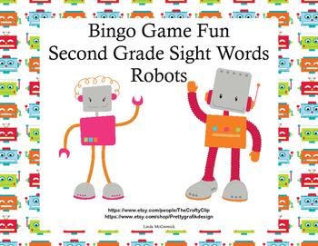 Bingo Game Fun- Sight Words for Grade 2 Robot Theme