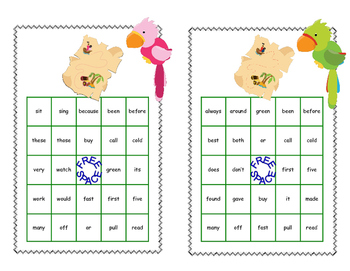 Sight Words for Grade 2-Bingo Game Fun with a Boy and Girl Pirate Theme