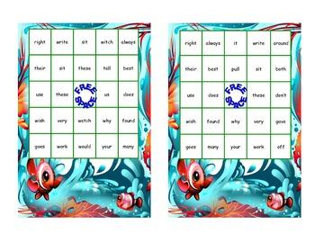 Bingo Game Fun- Sight Words for Grade 2 with an Ocean Theme