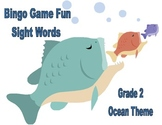 Bingo Game Fun- Sight Words for Grade 2 with an Ocean Theme