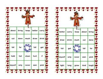 Bingo Game Fun- Sight Words for Grade 3 Fall Themed