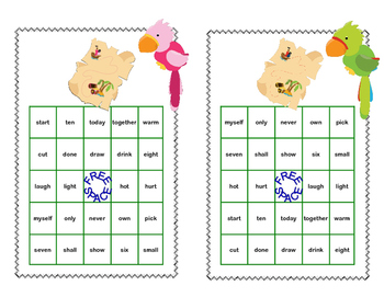 Sight Words for Grade 3-Bingo Game- Fun Pirate Theme