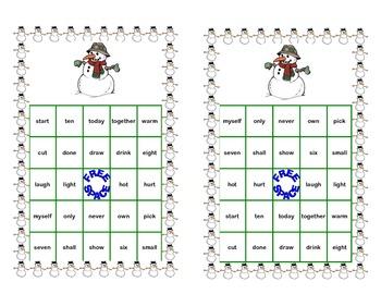 Bingo Game Fun- Sight Words for Grade 3 Winter Themed