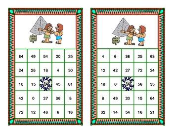 Bingo Game Multiplication Tables 0-10 Ancient Egyptian Theme