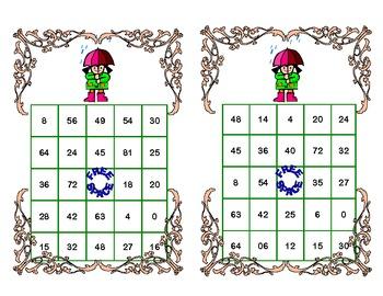 Bingo Game Multiplication Tables 0-10 Spring Theme
