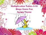 Bingo Game Multiplication Tables 0-10 Spring Theme