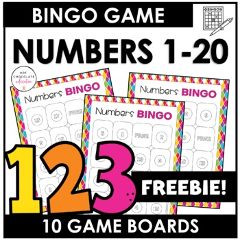 Free Bingo Game Numbers 1 20 By Hot Chocolate Printables Tpt