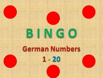 Bingo Game Numbers in German 1 - 20