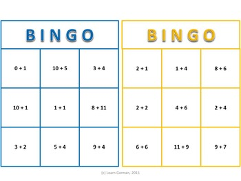 Bingo Game Numbers in German 1 - 20