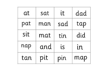 """Bingo Game Phonics: Phase 2- Sets 1 and 2. """"Letters and Sounds"""""""