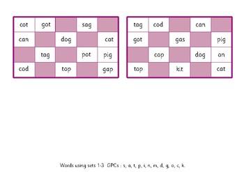 Bingo Game Phonics: Phase 2- Words using sets 1–3.