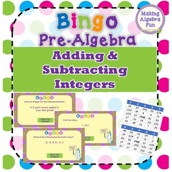Bingo Game Pre-Algebra Adding & Subtracting Integers with Word Problems