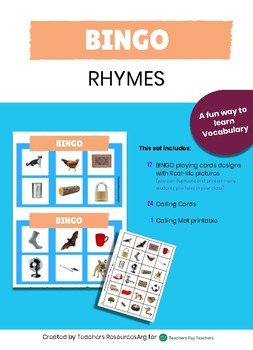 Bingo Game  Rhyming Words - Rhymes