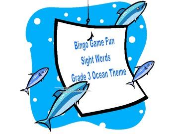 Bingo Game- Sight Words for Grade 3-Ocean Theme