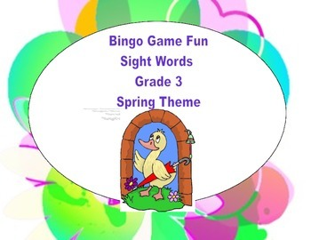 Bingo Game- Sight Words for Grade 3-Spring Theme
