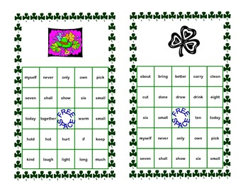 Bingo Game- Sight Words for Grade 3-St. Patrick's Day Theme