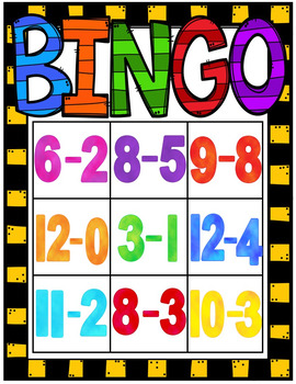 Bingo Game (Subtraction Facts 0-12)