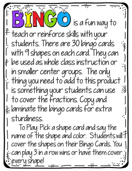 Bingo Game (Shapes)