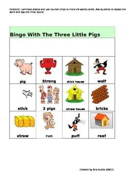 Bingo Game The Three Little Pigs Fairy Tale Vocabulary Development