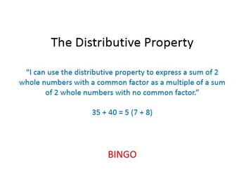 Bingo Game for Distributive Property (Greatest Common Factor)