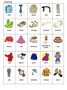 Bingo Game for ESL Clothing and Colors