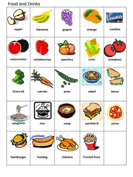 Bingo Game for ESL Food