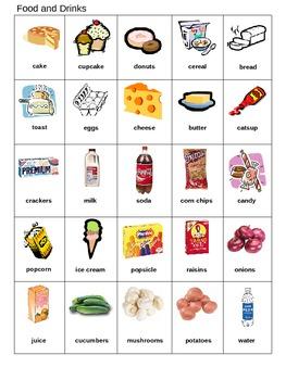 Bingo Game for ESL Food