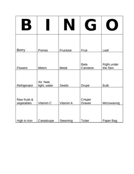 Bingo Game for Fruits & Vegetables