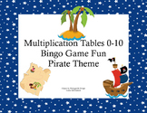 Bingo Game for Multiplication Tables 0-10- Boy & Girl Pirates Theme