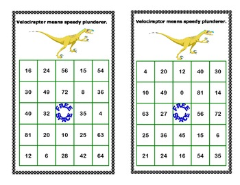 Bingo Game for Multiplication Tables 0-10 Dinosaur Theme