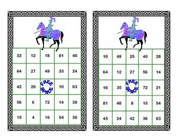 Bingo Game for Multiplication Tables 0-10 Fantasy Theme